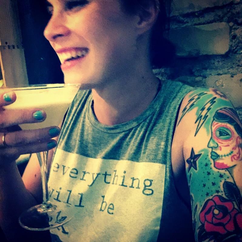 Inka drinking Pisco Sour in Rome